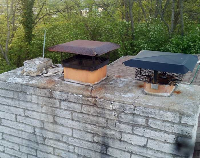 Bats R Us habitat modification maintenance chimney experts needed to repair this chimney where squirrels were entering.