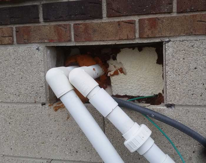 Bats R Us habitat modification maintenance pros found mice entering through this area of outside piping.